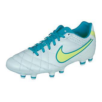 Nike Tiempo Mystic IV FG kvinners fotball lærstøvler / Cleats - hvit