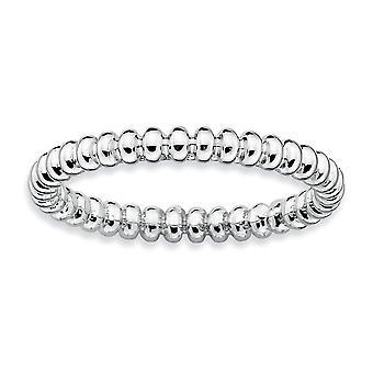 925 Sterling Silber poliert gemustert Rhodium vergoldet stapelbare Ausdrücke Rhodium Perlen Ring Schmuck Geschenke für Frauen