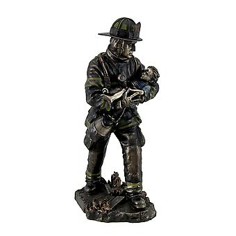 Firefighter Carrying Child Metallic Bronze Statue 11 Inches Tall