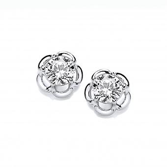 Cavendish French Silver & Cubic Zirconia Halo Flower Earrings