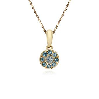 Cluster Round Blue Topaz Classic Pendant Necklace and Chain in 9ct Yellow Gold 135P1910059
