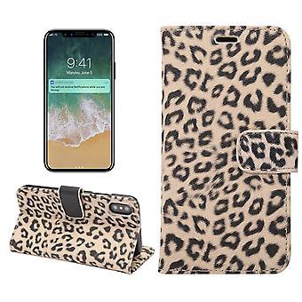 iPhone X Wallet Case Leopard-Beige