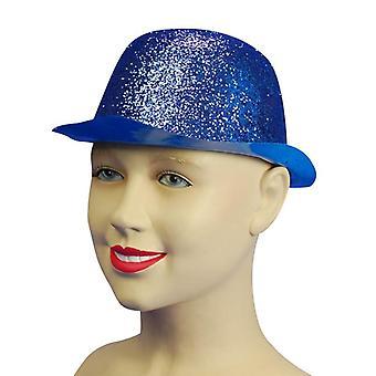 Glitzer blau Kunststoff Bowler.