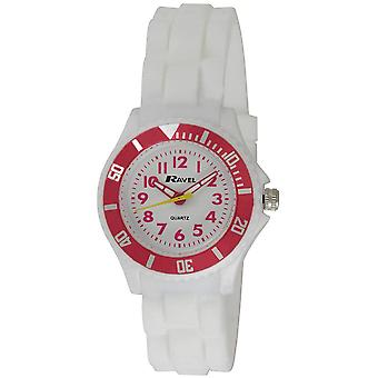 Ravel Analogue White Dial Rotating Bezel & Silicone Strap Ladies Watch R1802.4