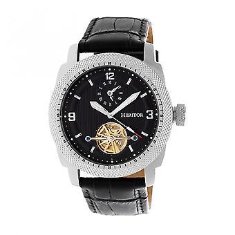 Relógio do couro-banda semi esqueleto do Helmsley automática heritor - prata/preto