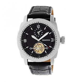 Heritor automatische Helmsley semi-Skeleton Leder-Band Armbanduhr - Silber/Schwarz