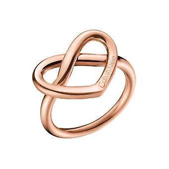 كالفين كلاين الساحرة الذهب ارتفع الفولاذ المقاوم للصدأ خاتم KJ6BPR100107