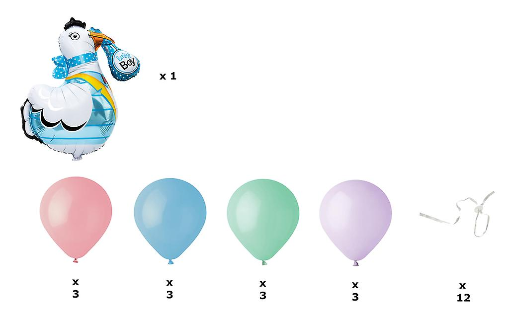 Baby Boy - Stork och Latexballonger med Ballongförslutare