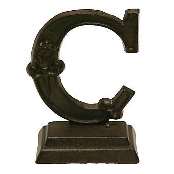 Ijzer sierlijke staande Monogram brief C tafelblad beeldje 5 Inches