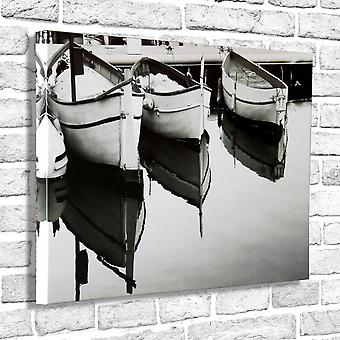 Photo Canvas White Boats, Wall Art 90 x 60 cm Attached to Real Wooden Framework