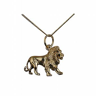 9ct Gold 15x20mm Lion Pendant with a curb Chain 20 inches