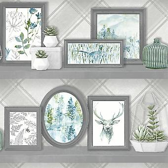 Hert Frames Wallpaper dierlijke Print Fazant Floral Bloemen grijs Teal Holden