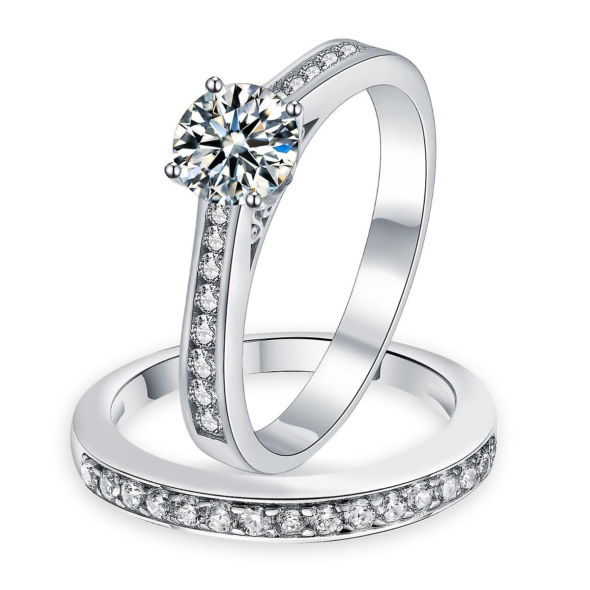 925 Sterling Silver Round Channel Set Simulated Diamond Engagement Wedding Ring Set