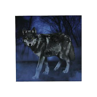 Lone Wolf In the Blue Misty Moonlit Forest Canvas Print