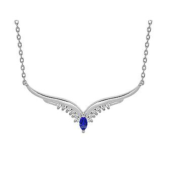 Ah! Jewellery Sterling Silver Wing Pendant With Sapphire Crystals From Swarovski Necklace