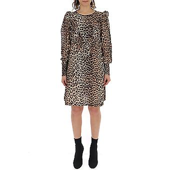 Ganni F3190943leopard Women's Leopard Viscose Dress