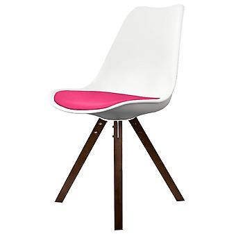 Fusion Living Eiffel Inspired White And Bright Pink Dining Chair With Square Pyramid Dark Wood Legs