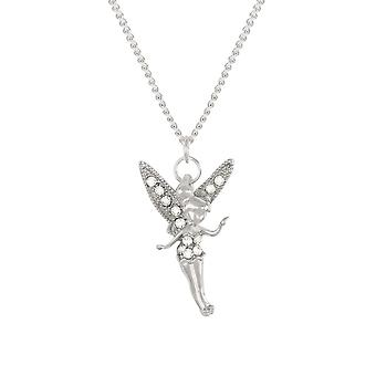 Eternal Collection Tinkerbell The Fairy Crystal Silver Tone Pendant