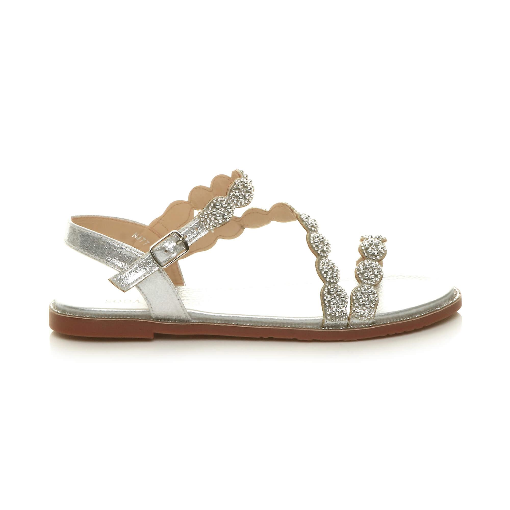 Ajvani Womens Low Heel Strappy Diamante Pearl Buckle Summer Sandals