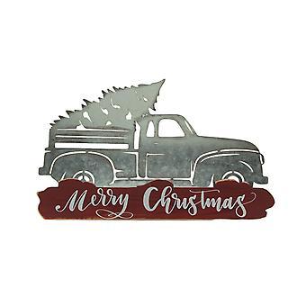 Metal Merry Christmas Vintage Truck Hauling Tree Wall Sculpture
