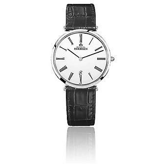 Michel Herbelin | Mens | Epsilon | Black Leather Strap | White Dial | 19406/01N Watch