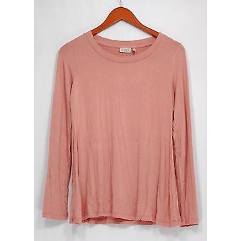 LOGO par Lori Goldstein Top XXS Long Sleeve Knit Top Pink A255753