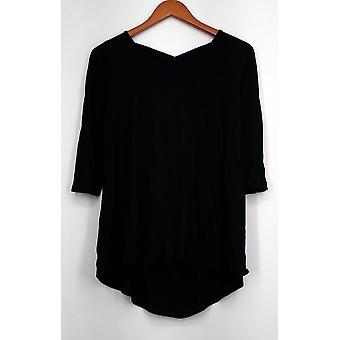 Kate et Mallory Top Scoop Neck et Criss Cross Back Knit Black Womens A428883