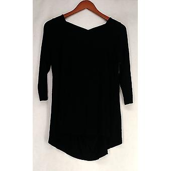 Kate & Mallory Top 3/4 Sleeve Top Scoop Neck & Criss Cross Back Black A428883