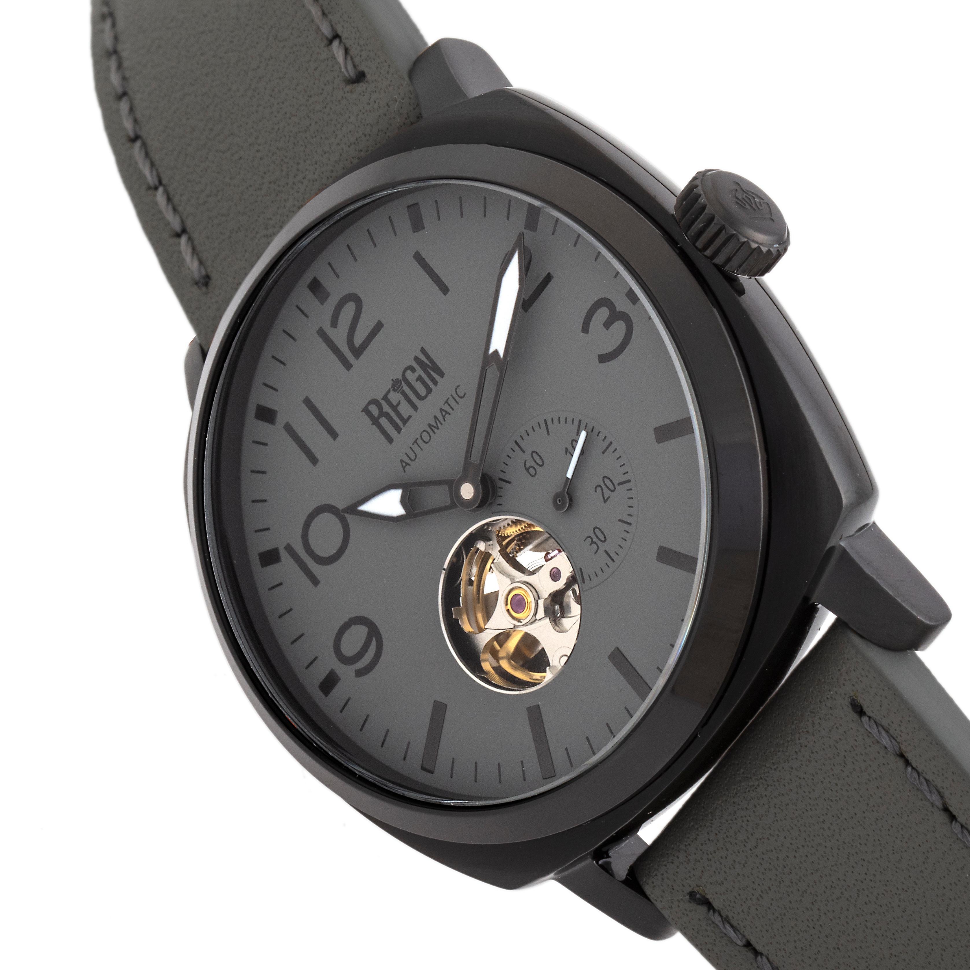 Reign Napoleon Automatic Semi-Skeleton Leather-Band Watch - Black/Grey