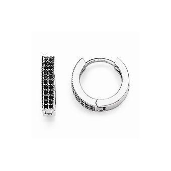 925 sterling sølv pave Hænget Hoop rhodium-belagt og sort cubic zirconia strålende gløderne Hoop Øreringe