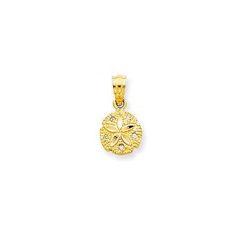 14 k gult guld Solid texturerat polerad öppen rygg Sparkle-Cut Sand Dollar hänge - åtgärder 15.9x8.5mm