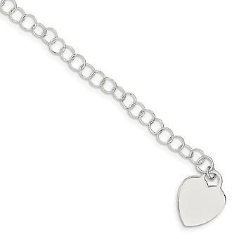 925 Sterling Silver Polished Flat back Engravable Fancy Lobster Closure Heart for boys or girls Bracelet - Lobster Claw