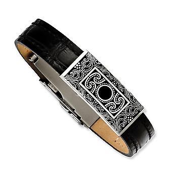 Edelstahl Emaille schwarz Leder mit dekorativen Akzent 7,5 Zoll Armband