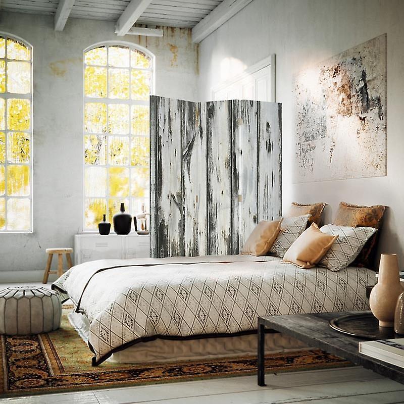 Diviseur de chambre, 3 panneaux, unilatéral, toile, vieille planche
