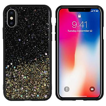 Bakstycket gnista glitter TPU + PC för Apple iPhone XS Max guld