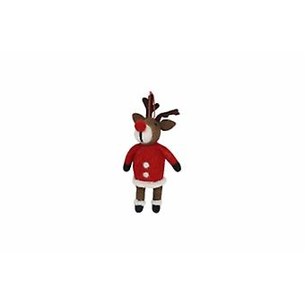 Gisela Graham Wool Reindeer with Coat Decoration|Handpicked Gifts