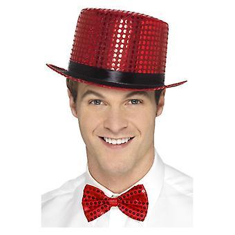 Paillettes Top Hat, rosso costume accessorio