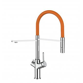 3 Way Kitchen Filter Sink Mixer With Orange Spout And 2 Jet Spray, Works With All Water Filter System - 379