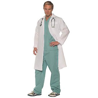 Sur Call Doctor Surgeon Hospital Medical Top Pants Lab Coat Mens Costume OS