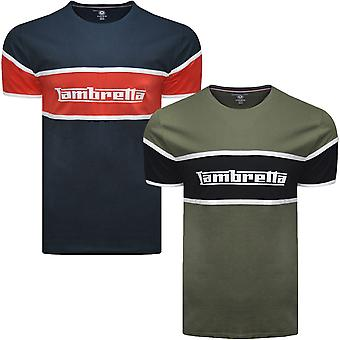 Lambretta Mens Panel Logo Cotton Casual Short Sleeve Crew Neck T-Shirt Top Tee