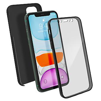 Silicone hoesje + achtercover in polycarbonaat Apple iPhone 11-zwart