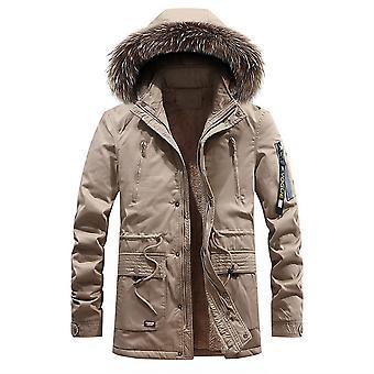 Allthemen الرجال & apos;ق الصلبة هود منتصف طول معطف الصوف الشتاء الدافئ سميكة مبطن outwear رقيق هوديس
