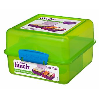 Sistema 3 Compartment 1.4L Lunch Cube Box, Green