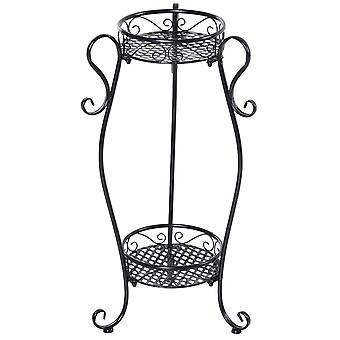 Outsunny Metal Two-Tier Flower Stand Display Unit Elegant Outdoor Garden Foot Pads Mesh Shelves Curved Hooks 66cm Black