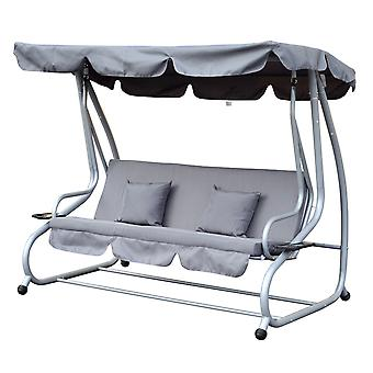 Outsunny 3 Seater Swing Chair Garden Outdoor Patio Hammock Seat Bench Luxury +2 Free Pillows Grey
