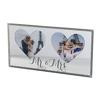 Widdop Bingham Celebrações Mr & Mrs Sparkle Mirror Double Photo Frame
