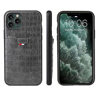 For iPhone 11 Pro Max Case Crocodile Pattern PU Leather Wallet Cover Gray