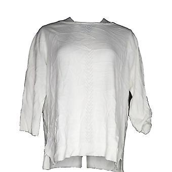 Karen Scott Women's Plus Sweater Luxsoft Rollneck Pull Over White