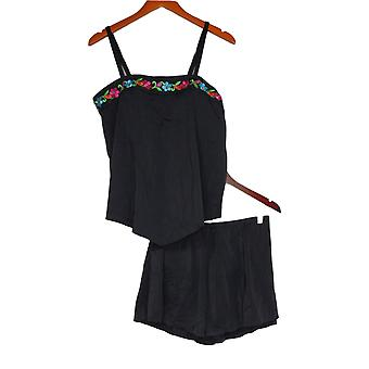 Fit 4 U Swimsuit Embroidered Bandeau Tankini Top w/ Short Black A350541