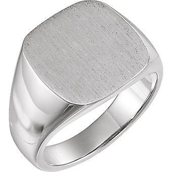 925 Sterling Gümüş 16x16mm Cilalı Erkek Signet Yüzük Fırça Kaplama Üst Boy 11 Erkekler için Takı Hediyeler